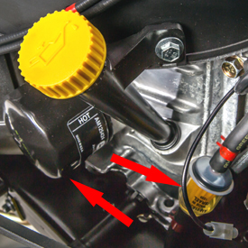 Easy-to-service engine fuel and oil filters