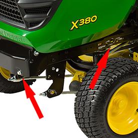 Lift-assist spring decals and adjusting bolt
