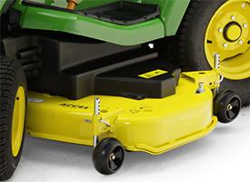 Easy-to-adjust mower wheel and mower side reinforcement