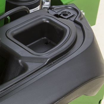 Protected-storage compartment shown with battery cover removed