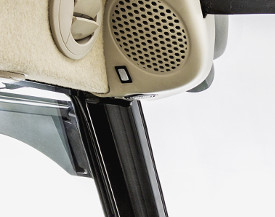 Additional interior cab light integrated into left-hand speaker