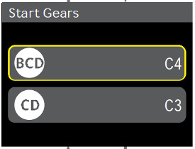 Start gear settings in cornerpost display