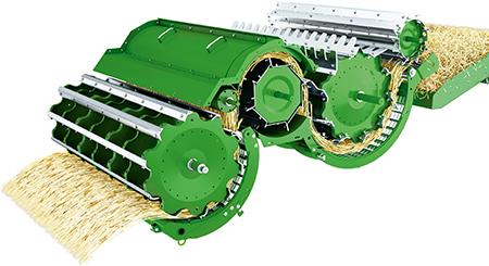 Esclusivo sistema di trebbiatura a cilindro multiplo con flusso di raccolto sopra al mulinello centrale
