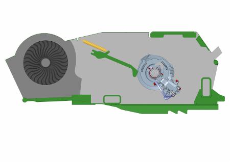 Percorso del flusso d'aria ad alta velocità generato dal sistema di doppi soffiatori