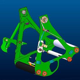 Apertura della sponda posteriore tramite componenti con mobilità ottimale
