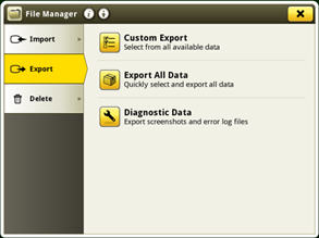 Screen to export using USB