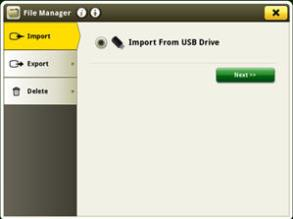 1. Screen to import using USB