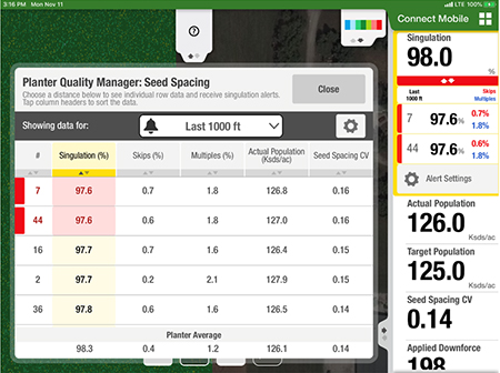 Planter Quality Manager screen