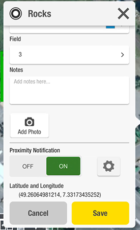 Proximity Notification setting