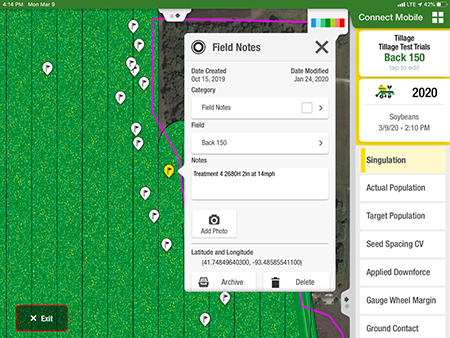 Boundaries and flags are visible in Field Review