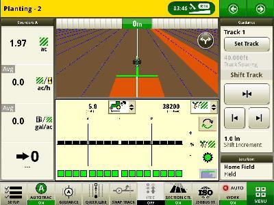 John Deere planter ISOBUS implement split screens