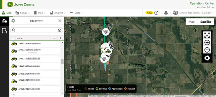 View equipment visually on the map or in the list by closest proximity