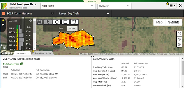 Field Analyzer Beta corn harvest layers show yield