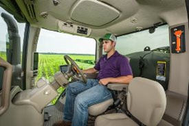 A relaxed operator using AutoTrac RowSense software in an R4038