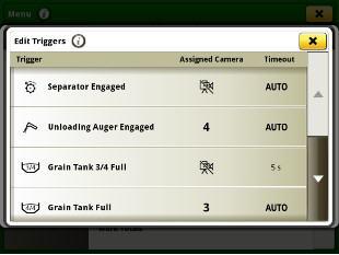 Camera trigger menu