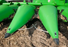 Feelers keep the combine on the row