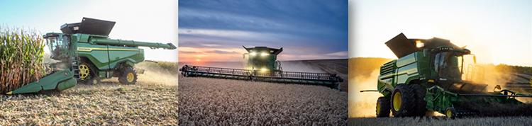 X Series harvesting corn, wheat, and canola