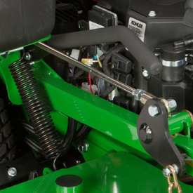 Mower lift spring and lever (minimum cut-height position)