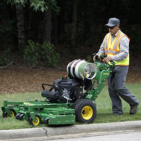 Propane conversion kit on a walk-behind mower
