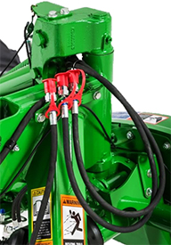 Two extra hydraulic hoses for rearward-swinging cylinder