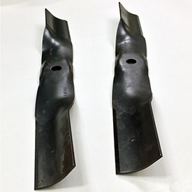 Mower blades shipped with the rear bagger chute