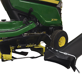 Rear MulchControl baffle removed to allow for chute installation (Mower shown on X330 Tractor)