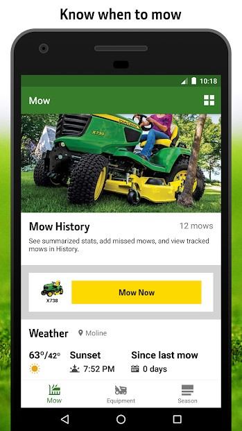 MowerPlus app screen