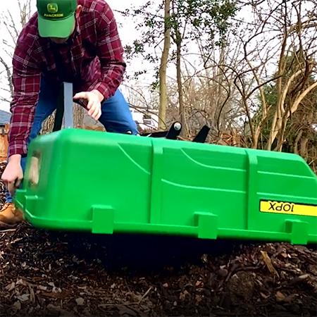 Cart in full-dump position