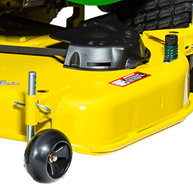 Easy-to-adjust mower wheel and mower side reinforcement