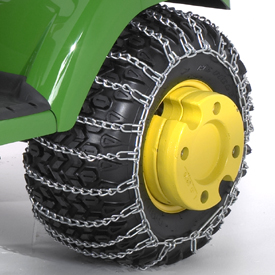 Tire chain with optional wheel weights on X728 Tractor