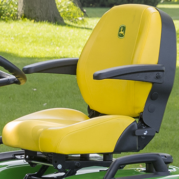 Standard seat shown with optional armrest attachment