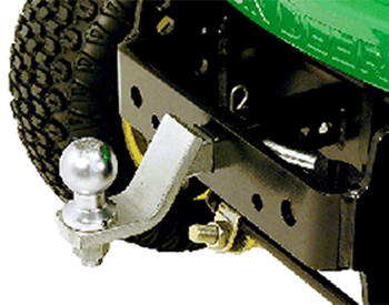 Optional drawbar/ball mount and hitch ball shown