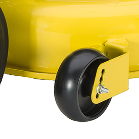 Mower deck wheels are double captured
