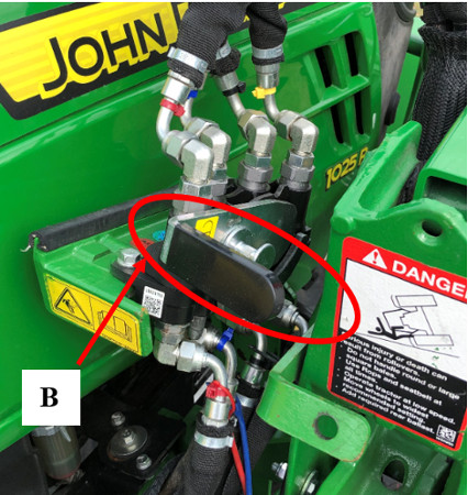 Single-point hydraulic system fully installed with handle in locked position – loader half release/locking handle (B)