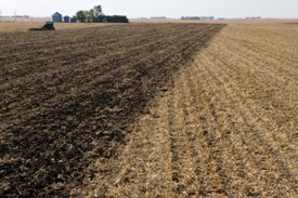 2720 Ripper remaining residue in corn stalks