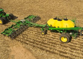 16-row Residue Master with tow-behind cart