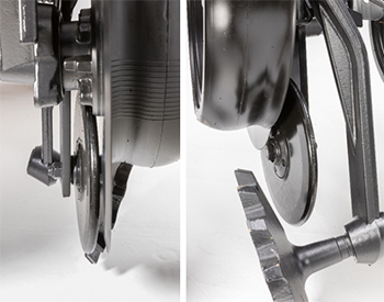 Front view (left) and side view (right) of press wheel