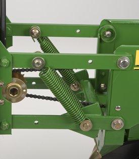Non-adjustable springs, row-unit upforce