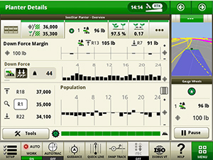 IRHD screen showing the applied downforce graph with SeedStar 4HP