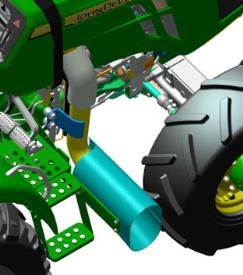 Side exhaust for 3-cylinder 5E Tractors