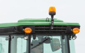 Beacon light shown on cab tractor