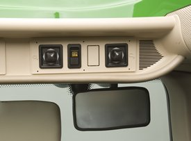 Electronically-adjustable mirror controls shown