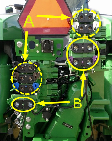 Five 1.3-cm (1/2-in.) couplers (A) and three 1.9-cm (3/4-in.) couplers (B)