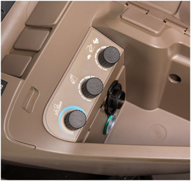 Field-installed 3–point hitch controls under armrest on CommandARM