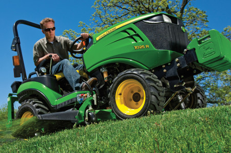 Standard 4WD and power steering make 1 Family Tractors excellent for mowing
