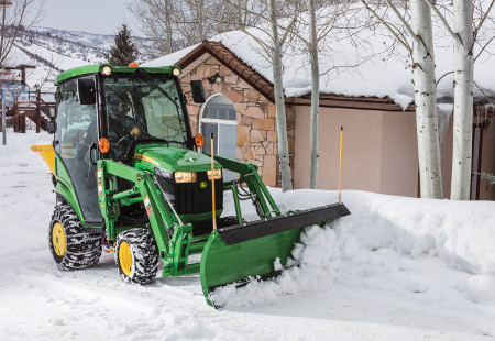 Heated cab is ideal for cold weather chores