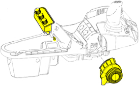 Placement of parts for rear hitch control kit