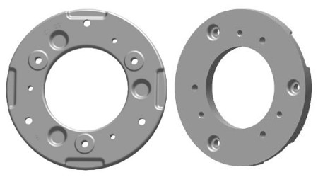 BM17968 22-kg (48.5-lb) wheel weight (inner and outer face shown)