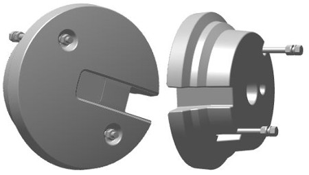 BM17976 22.7-kg (50-lb) plastic-shell rear wheel weight with hardware, not stackable (inner and outer face shown)