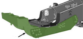 Kit shown in green mounted on gray main frame